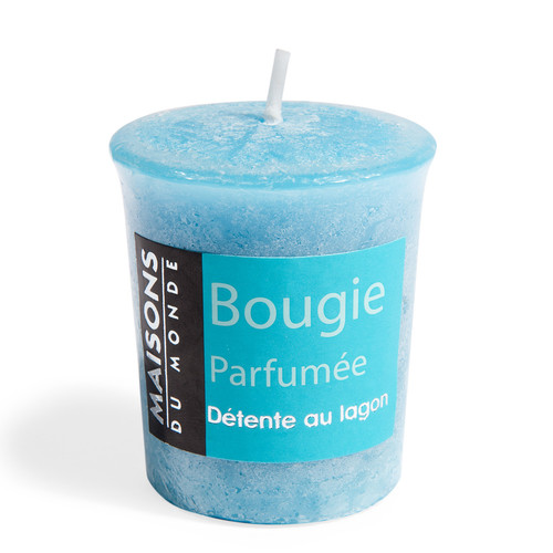 bougie parfum e bleue h 5 cm votive maisons du monde. Black Bedroom Furniture Sets. Home Design Ideas