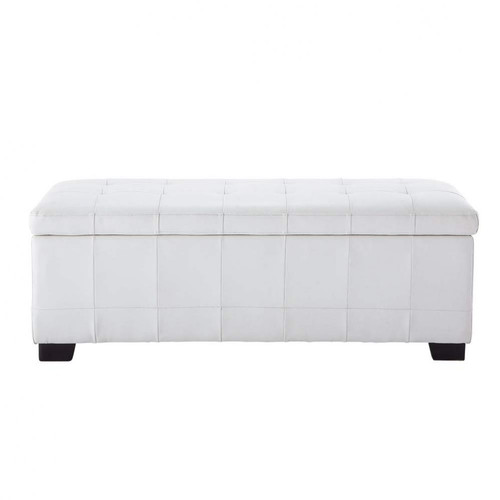 bout de lit imitation cuir blanc l 120 cm chesterfield maisons du monde. Black Bedroom Furniture Sets. Home Design Ideas