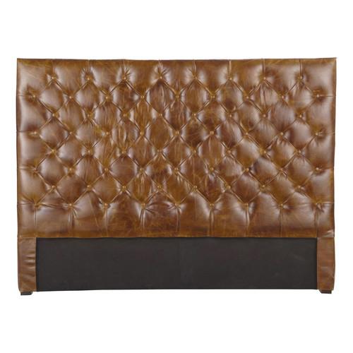 t te de lit capitonn e vintage en cuir marron l 140 cm. Black Bedroom Furniture Sets. Home Design Ideas