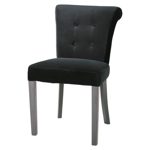 chaise capitonn e en velours noir boudoir maisons du monde. Black Bedroom Furniture Sets. Home Design Ideas