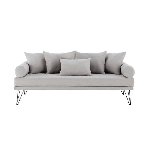banquette vintage 2 3 places en tissu gris clair martine. Black Bedroom Furniture Sets. Home Design Ideas
