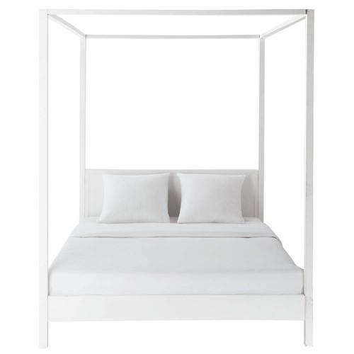 Lit Baldaquin Bois Blanc : Lit ? baldaquin 160 x 200 cm en bois blanc cass? Celeste Maisons