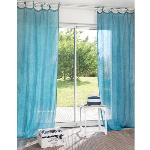 rideau nouettes en lin bleu 105 x 240 cm wash maisons du monde. Black Bedroom Furniture Sets. Home Design Ideas