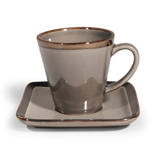 tasse caf et soucoupe en gr s grise allure maisons du monde. Black Bedroom Furniture Sets. Home Design Ideas