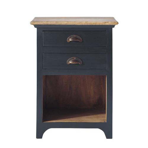 table de chevet avec tiroirs en manguier gris l 45 cm chenonceau maisons du monde. Black Bedroom Furniture Sets. Home Design Ideas