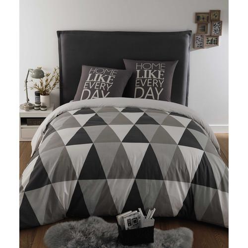Parure de lit 220 x 240 cm en coton grise triangle - Parure de lit maison du monde ...