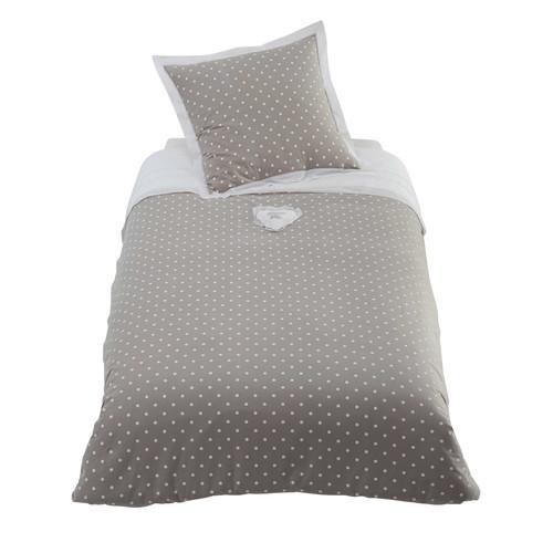 parure de lit pois 140 x 200 cm en coton grise douceur. Black Bedroom Furniture Sets. Home Design Ideas
