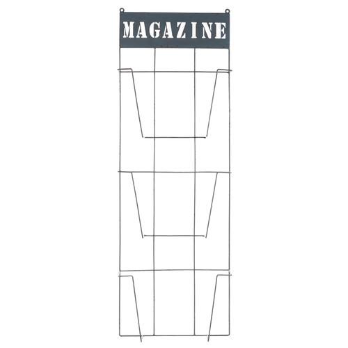 Porte revues mural en m tal gris 31 x 92 cm for Porte journaux mural