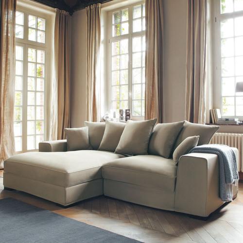 Canap d 39 angle 4 places en coton taupe bruges maisons du for Canape roma maison du monde