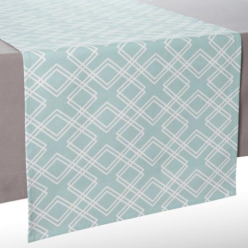 chemin de table en coton bleu l 150 cm vera maisons du monde. Black Bedroom Furniture Sets. Home Design Ideas