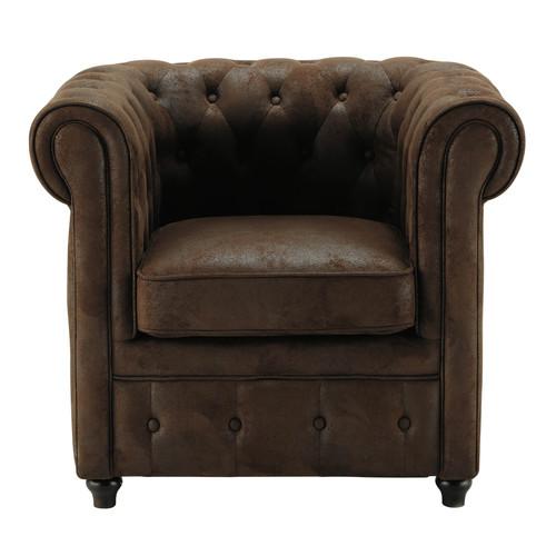 fauteuil capitonn en microfibre marron chesterfield maisons du monde. Black Bedroom Furniture Sets. Home Design Ideas