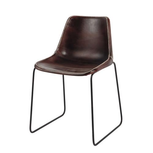 chaise indus en cuir et m tal marron. Black Bedroom Furniture Sets. Home Design Ideas