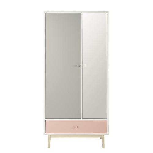 Dressing avec miroir en bois blanc l 90 cm blush maisons for Miroir 90 cm