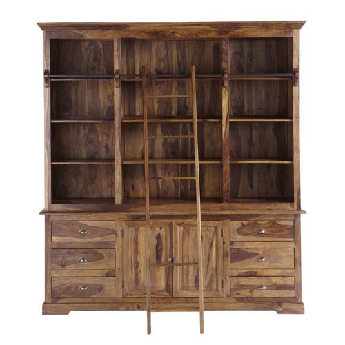 Biblioth que avec chelle en bois de sheesham massif l 210 cm luberon maiso - Bibliotheque echelle murale ...