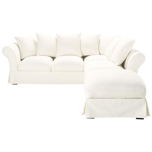 6 seater cotton corner sofa in ivory roma maisons du monde - Maison du monde sofa ...