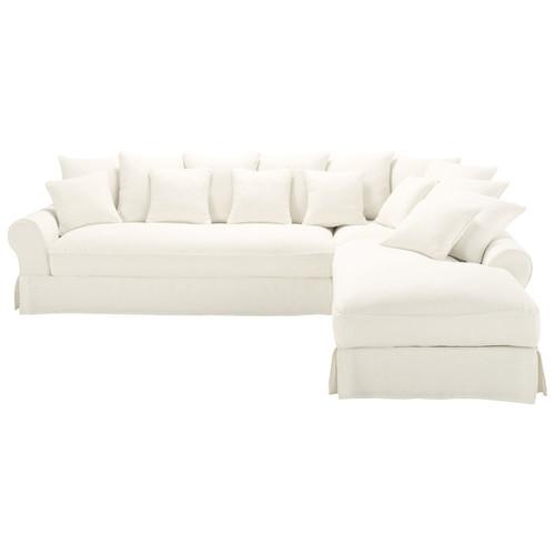 canap angle 6 places fixe lin blanc bastide maisons du monde. Black Bedroom Furniture Sets. Home Design Ideas