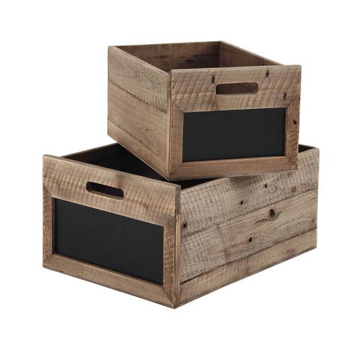 2 caisses avec ardoise en bois et ardoise h 24 cm augustine for Caisse de rangement exterieur