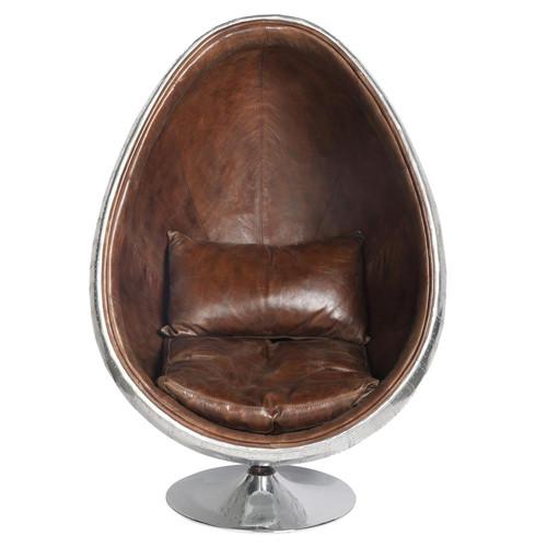 Fauteuil en cuir marron coquille maisons du monde - Fauteuil en cuir marron ...