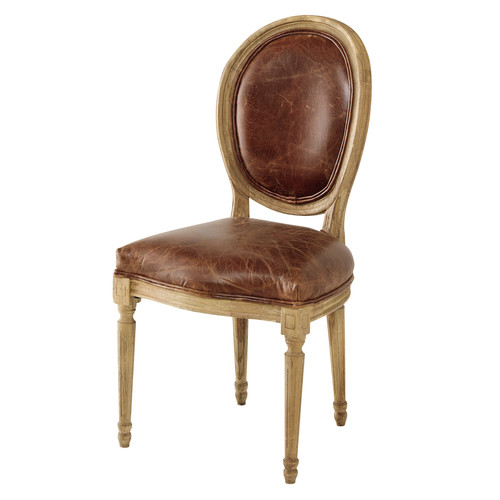 chaise m daillon en cuir et ch ne massif marron louis maisons du monde. Black Bedroom Furniture Sets. Home Design Ideas
