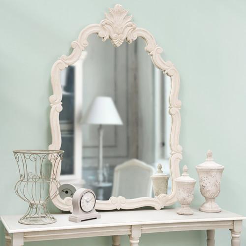 Miroir classique en bois beige h 146 cm chlo maisons du for Miroir classique