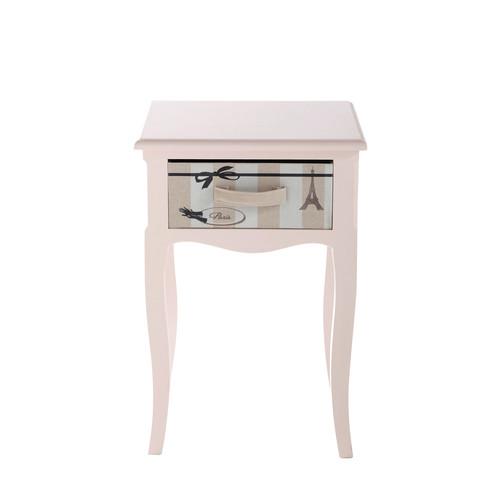 table de chevet enfant avec tiroir en bois rose l 42 cm paris mode maisons du monde. Black Bedroom Furniture Sets. Home Design Ideas