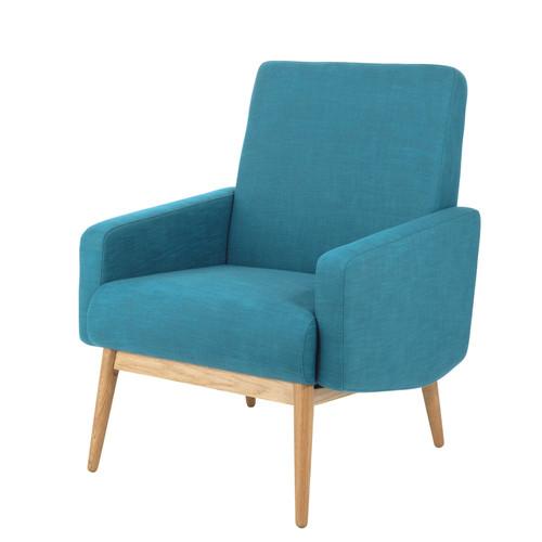 fauteuil vintage en tissu bleu p trole kelton maisons du. Black Bedroom Furniture Sets. Home Design Ideas