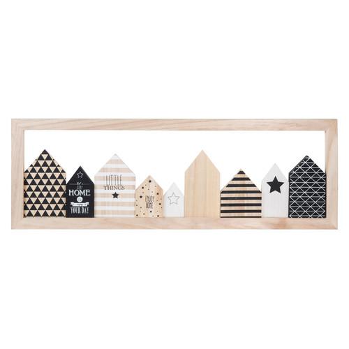 Tableau en bois noir blanc 24 x 70 cm little houses - Tableau noir bois ...