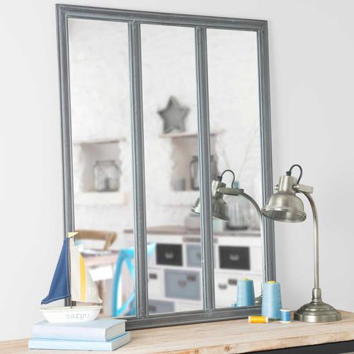 Miroir en m tal h 90 cm verri re for Miroir verriere maison du monde