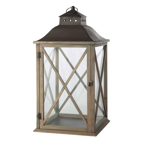 Lanterne de jardin en bois gris h 72 cm leontine maisons du monde - Lanterne exterieur leroy merlin ...