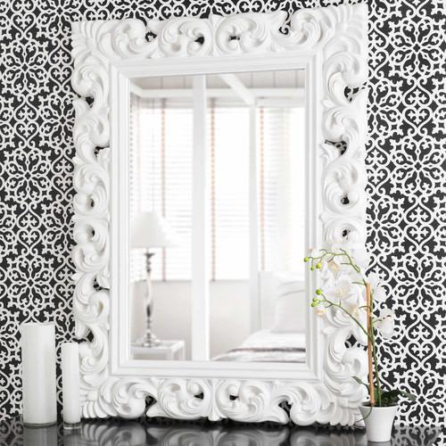Miroir en polyr sine blanc h 120 cm rivoli maisons du monde for Miroir 70x90