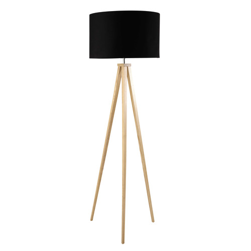 dreibeinige stehlampe karlsen aus holz und schwarzer baumwolle h 156 cm maisons du monde. Black Bedroom Furniture Sets. Home Design Ideas
