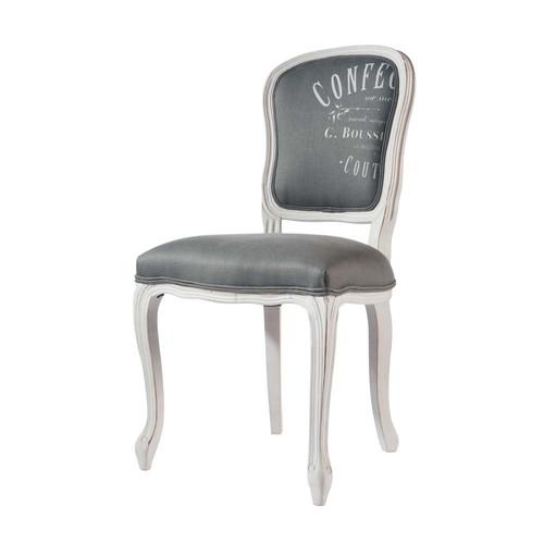 Chaise en lin et bois massif gris clair versailles for Maison du monde chaise louis