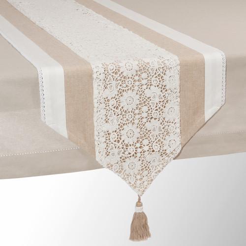 chemin de table en coton beige l 150 cm wonderful maisons du monde. Black Bedroom Furniture Sets. Home Design Ideas