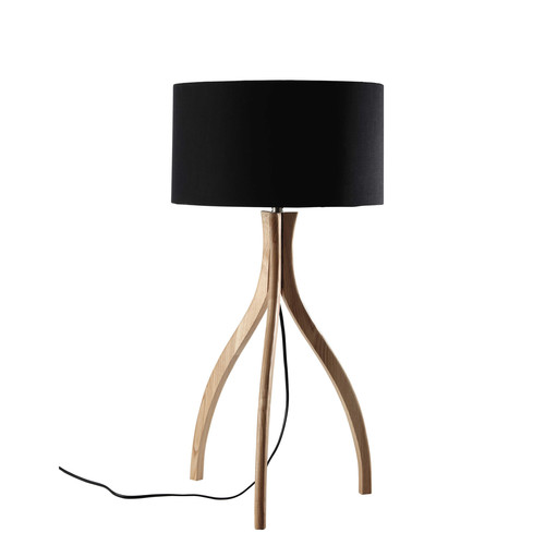 lampe tr pied en bois et abat jour en coton noir h 70 cm sven. Black Bedroom Furniture Sets. Home Design Ideas