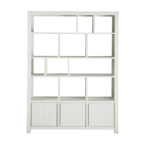 biblioth que en bois massif blanche l 150 cm white maisons du monde. Black Bedroom Furniture Sets. Home Design Ideas