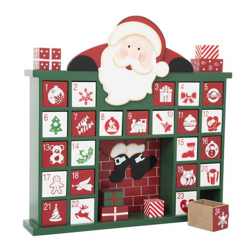 calendrier de l 39 avent en bois 30 x 32 cm chemin e. Black Bedroom Furniture Sets. Home Design Ideas
