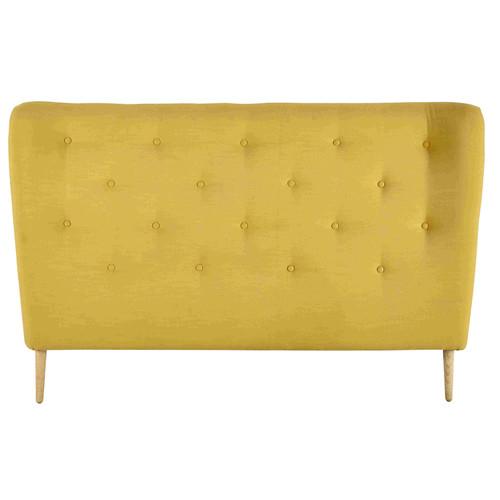 t te de lit 160 capitonn e en tissu jaune iceberg maisons du monde. Black Bedroom Furniture Sets. Home Design Ideas