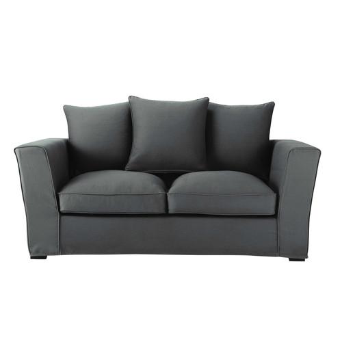 canap convertible 2 3 places en coton gris ardoise balthazar maisons du monde. Black Bedroom Furniture Sets. Home Design Ideas