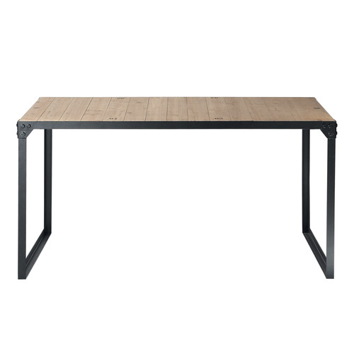 Mesa de comedor industrial de madera y metal an 140 cm for Table salle a manger 140 cm