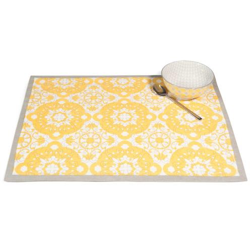 Set de table en coton jaune 33 x 45 cm belem maisons du for Set de table jaune