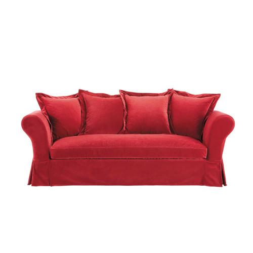 Maisons du monde - Canape velours rouge ...