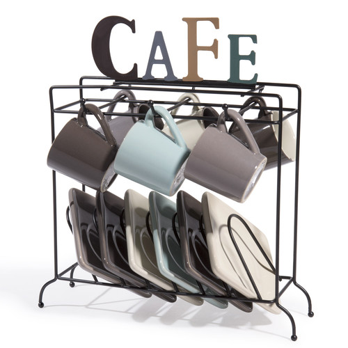 6 tasses et soucoupes support nordic caf. Black Bedroom Furniture Sets. Home Design Ideas