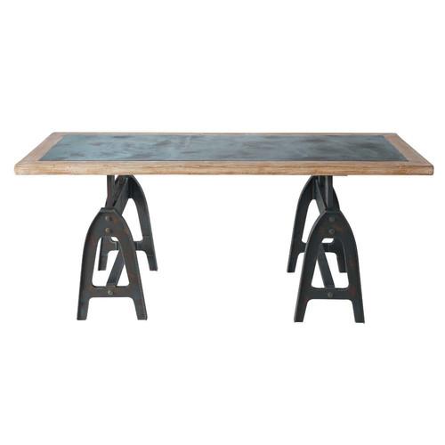 Table de salle u00e0 manger en bois aspect mu00e9tal effet vieilli L 200 cm ...