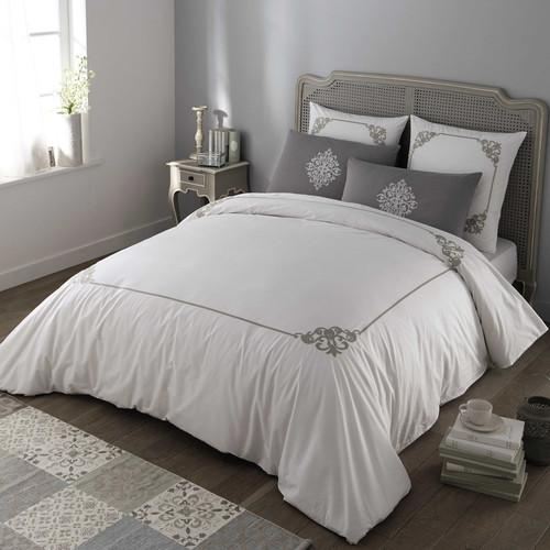 parure de lit 220 x 240 cm en coton blanche grise coleto maisons du monde. Black Bedroom Furniture Sets. Home Design Ideas