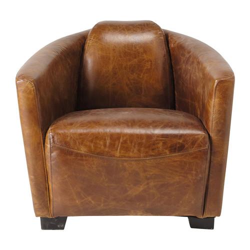 fauteuil cuir vintage marron oscar maisons du monde. Black Bedroom Furniture Sets. Home Design Ideas