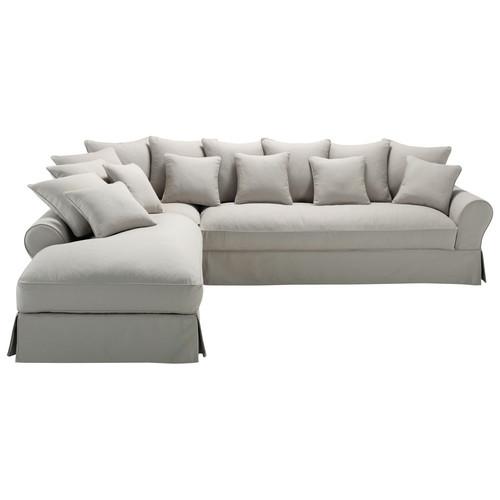 canap d 39 angle 6 places en coton gris clair bastide. Black Bedroom Furniture Sets. Home Design Ideas