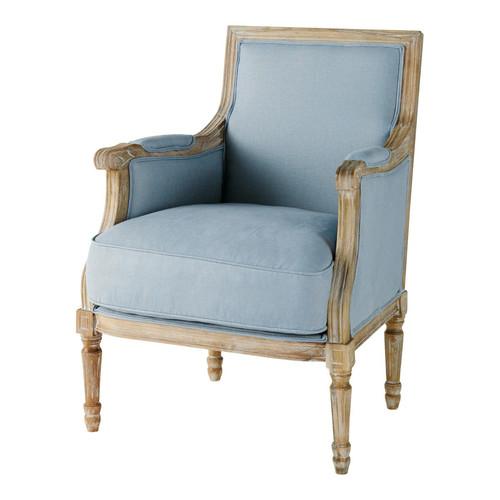 fauteuil en lin bleu casanova maisons du monde. Black Bedroom Furniture Sets. Home Design Ideas