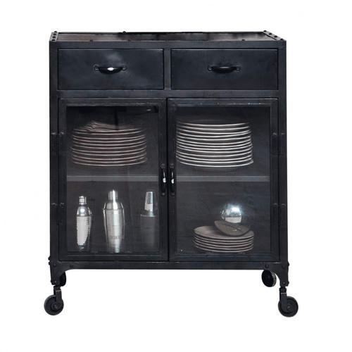 buffet indus vitr roulettes en m tal noir l 80 cm edison maisons du monde. Black Bedroom Furniture Sets. Home Design Ideas