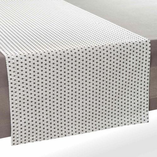 chemin de table en coton noir blanc l 180 cm geometrix maisons du monde. Black Bedroom Furniture Sets. Home Design Ideas