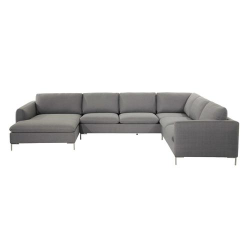 canap d 39 angle 8 places en tissu gris clair city maisons. Black Bedroom Furniture Sets. Home Design Ideas